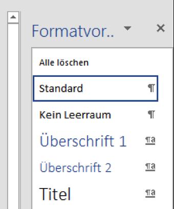 Formatvorlagen für Überschriften