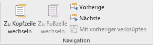 Abschnitt Navigation unter Entwurf